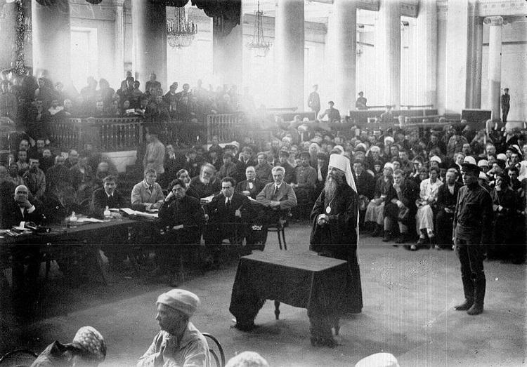 Допрос обвиняемого – митрополита Петроградского Вениамина на судебном процессе по делу об изъятии церковных ценностей