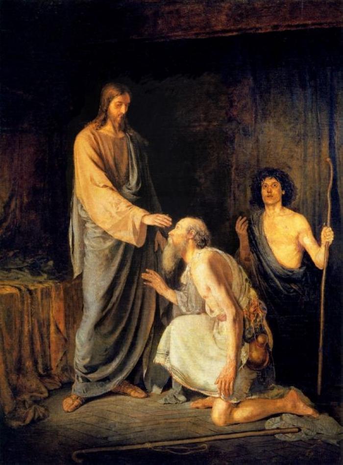 Исцеление двух слепых.  А. Рябушкин.1888 г.