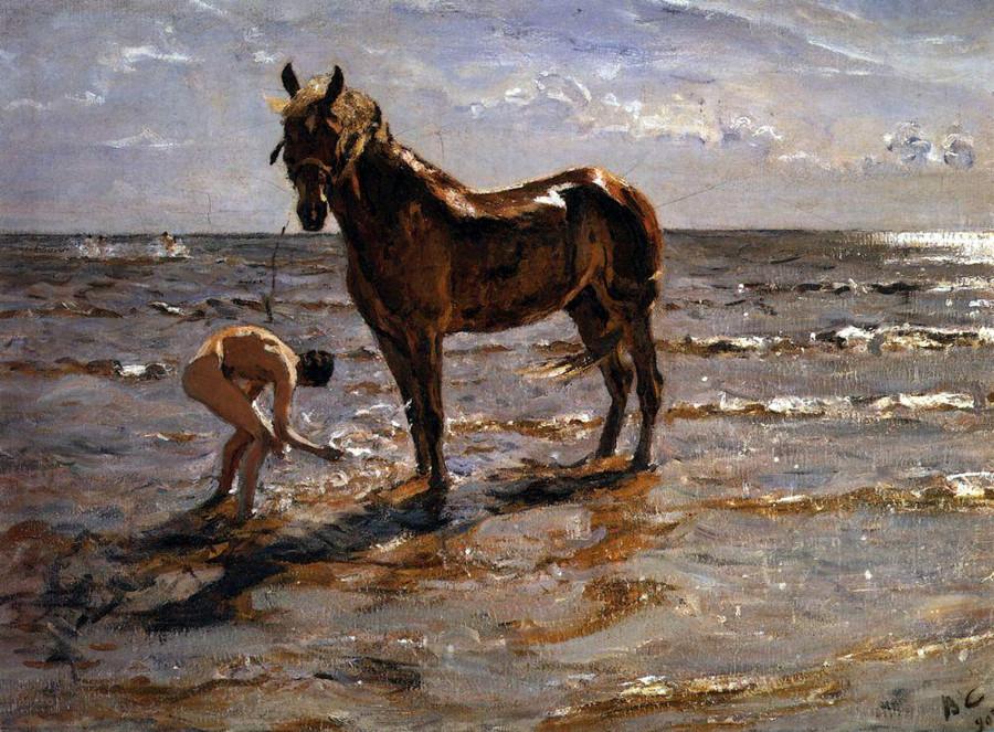 Купание лошади. В. Серов. 1905 г.