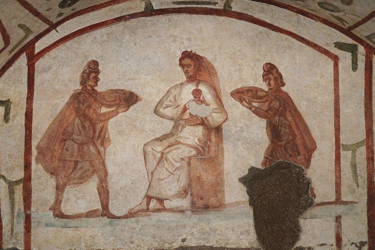 Полонение волхвов. IV век. Фреска. Катакомбы Петра и Марцеллина, Рим