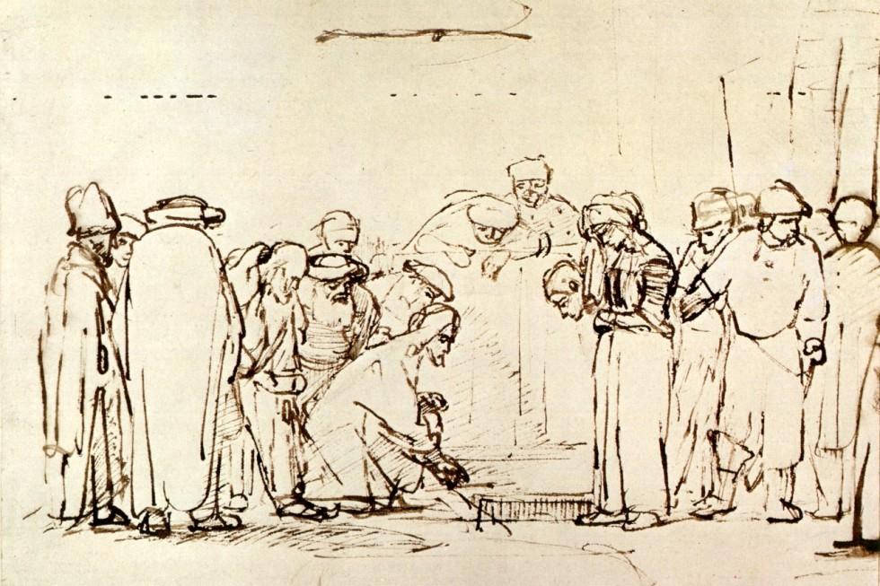 Рембрандт Харменс ван Рейн. Христос и женщина, взятая в прелюбодеянии. Набросок