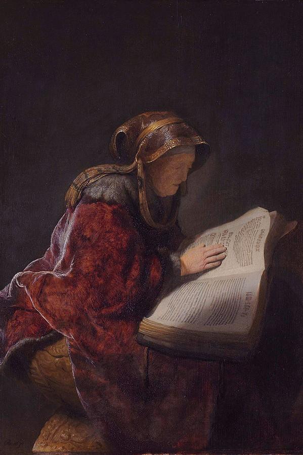 Rembrandt Harmensz van Rijn. An Old Woman Reading, Probably the Prophetess Hannah, 1631. Wikimedia Commons