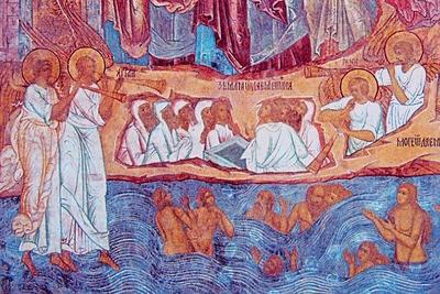Страшный Суд. Земля и море отдают своих мертвецов. Роспись церкви Спаса на Сенях в Ростове Великом. 1675 г.