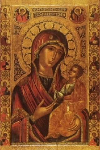 Иверская икона Божьей Матери. 1648 г. Афон. Ныне находится в Успенском соборе Новодевичьего монастыря в Москве