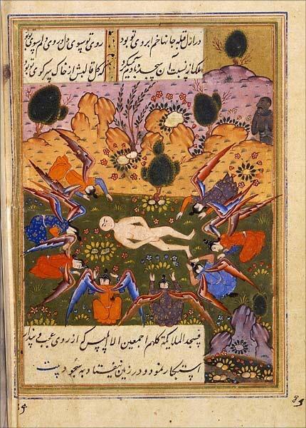 Ангелы поклоняются созданному Адаму, а Иблис отказывается. Средневековая персидская миниатюра