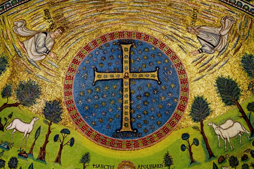 The 6th century Byzantine mosaic in the apse of the basilica of Sant'Apollinare in Classe (Ravenna, Italy)