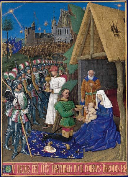 Жан Фуке. Поклонение волхвов. Миниатюра. Часослов Этьена Шевалье, ок. 1452–1460