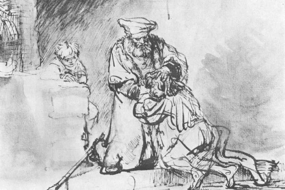 Рембрандт Харменс ван Рейн. Возвращение блудного сына. Рисунок.Ок. 1636