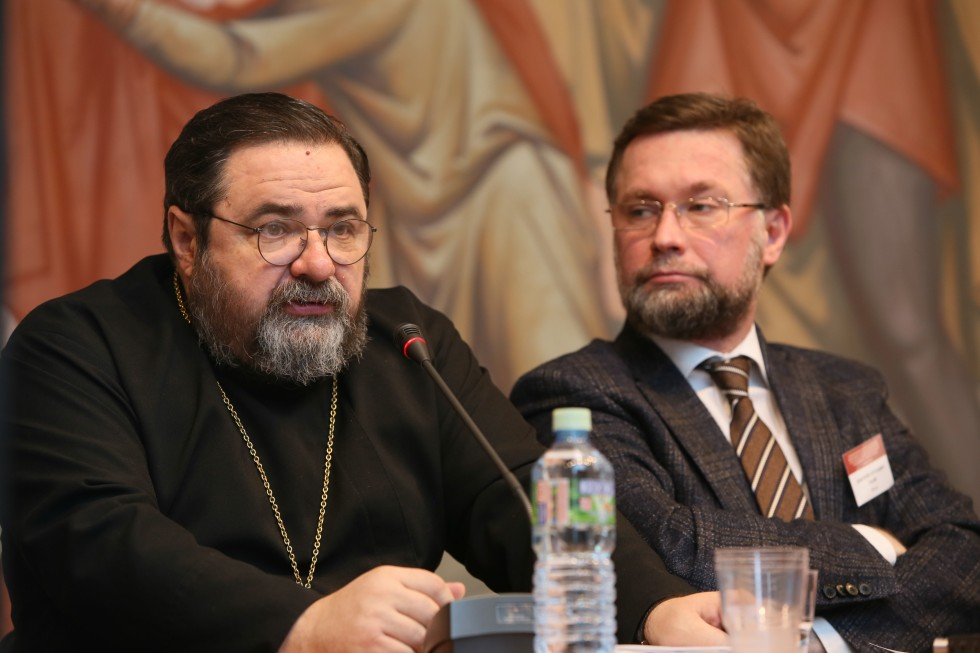 Fr. Georgy Mitrofanov, head of the Department of Church History at the St. Petersburg Academy; Dmitry Gasak, Vice Rector of SFI and Chairman of the Transfiguration Brotherhood