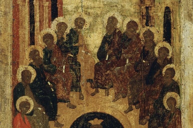 Пятидесятница. Фрагмент иконы Благовещенского собора Московского Кремля. Начало XV века