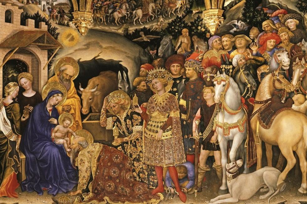 Джентиле де Фабриано. Поклонение волхвов (фрагмент), 1423. Галерея Уффици