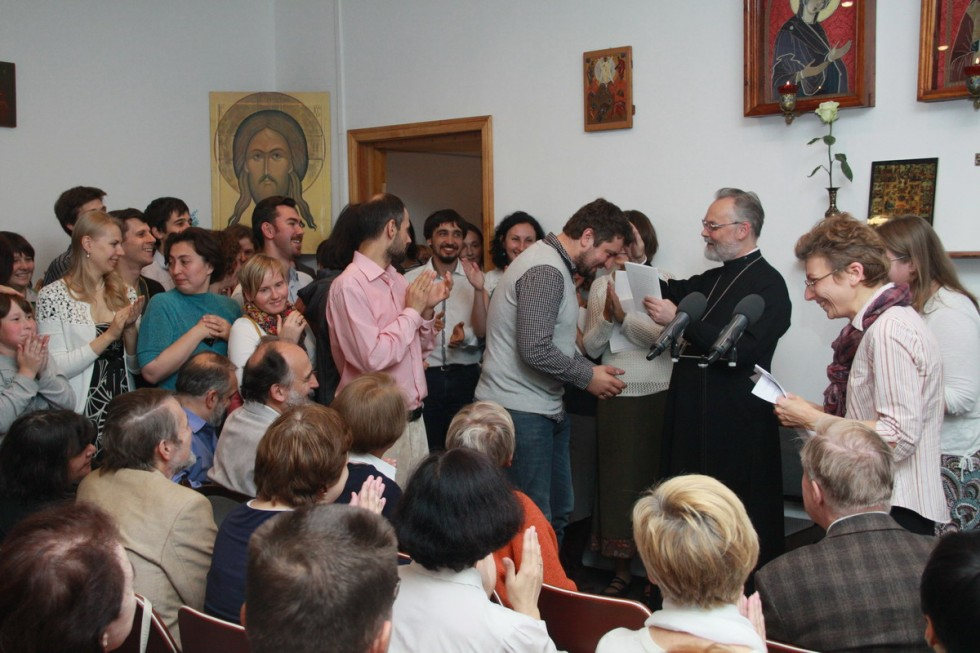 His Reverence Rector congratulates new students on admission to the Institute