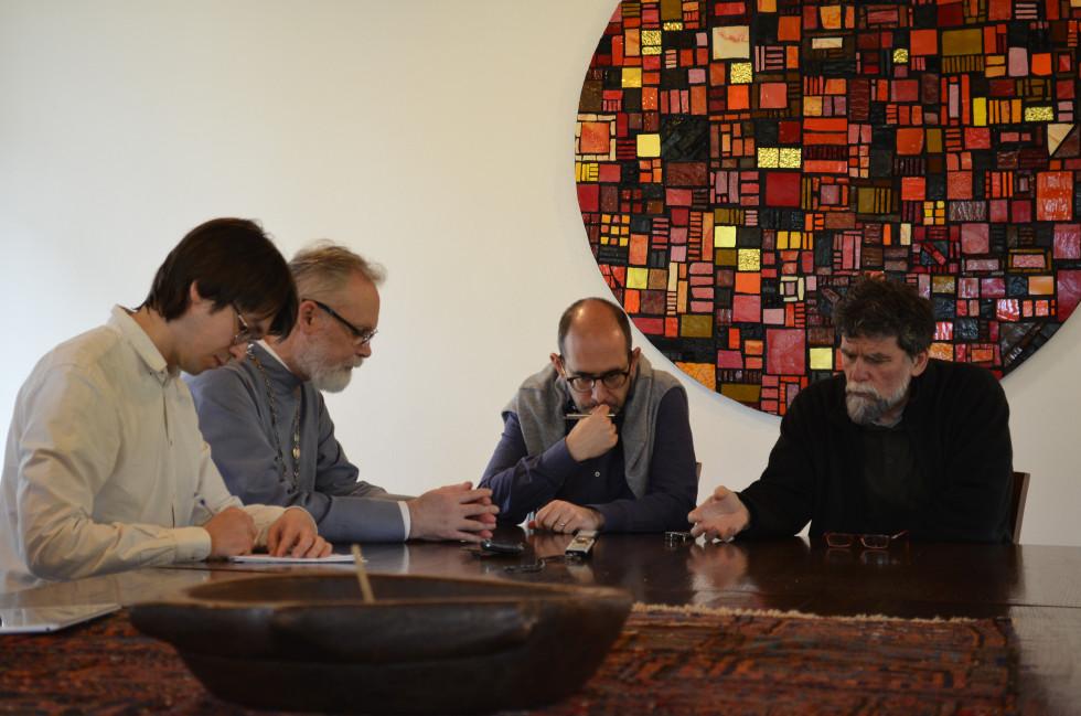 Встреча с приором Бозе Лучиано Маникарди (справа)