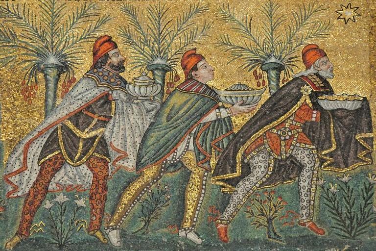 Волхвы. Середина VI века. Мозаика. Церковь Сант Аполинаре Нуово, Рим