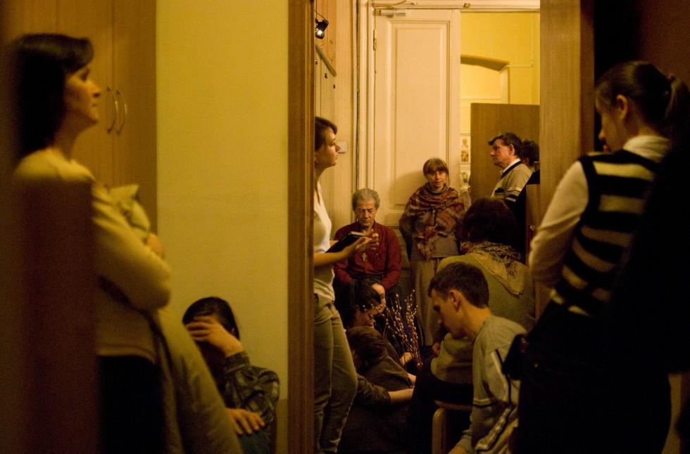Вечерня на Вход Господень в Иерусалим в Свято-Филаретовской часовне. 2012 год. Фото:Benjamin Hutter