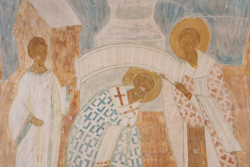 Dionysius the Wise. Ordination of St. Nicholas as Bishop (fragment). Cathedral of the Nativity of the Theotokos, Ferapontov Monastery, beginning of the 16th c.