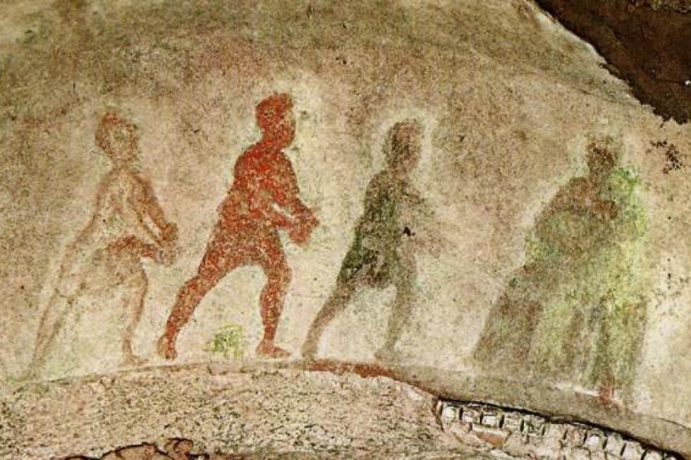 Поклонение волхвов. III-IV век. Фреска. Греческая капелла. Катакомбы Присциллы, Рим