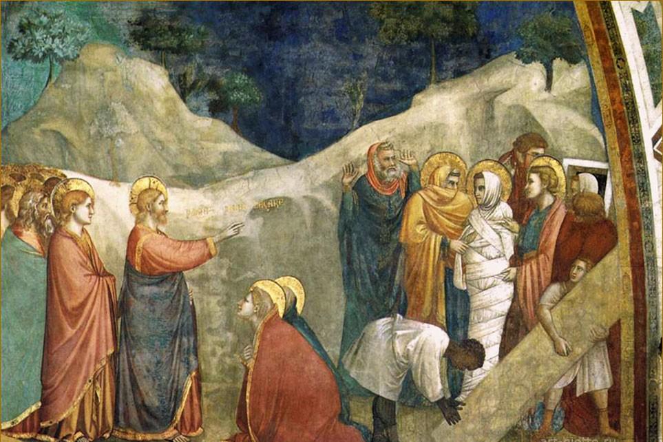 Джотто ди Бондоне. Фрески капеллы дель Арена (Скровеньи), Падуя. Воскрешение Лазаря. 1304-1306 гг.