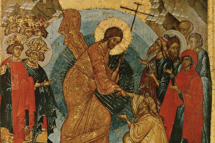 Воскресение – Сошествие во ад. Фрагмент иконы из праздничного чина иконостаса Успенского собора Кирилло-Белозерского монастыря. XV век