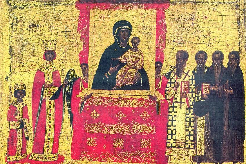 Икона «Торжество Православия» (фрагмент), XIV-XV век