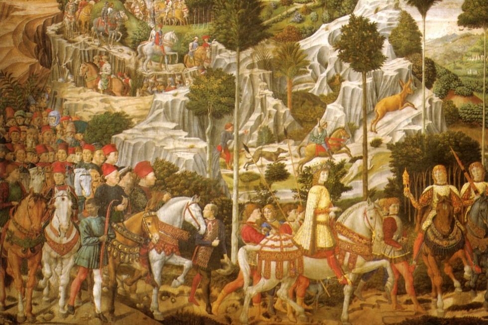Беноццо Гоццоли. Капелла в палаццо Медичи-Риккарди (фрагмент, восточная стена). Процессия Молодого короля, 1459-1460. Флоренция